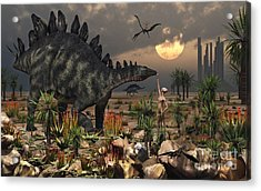 A Reptoid Being And A Stegosaurus Acrylic Print by Mark Stevenson