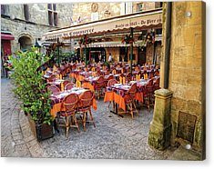 A Restaurant In Sarlat France Acrylic Print by Dave Mills