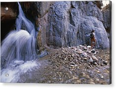 A River Guide Escapes The Heat Next Acrylic Print by Bill Hatcher