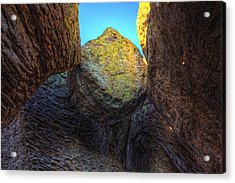 A Rock Balanced Precariously Acrylic Print by Robert Postma