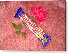 A Rose And A Babyruth Acrylic Print by Tom Zukauskas