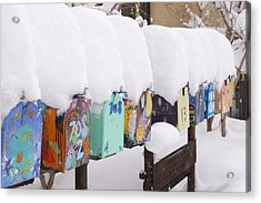 A Row Of Mailboxes In Winter Acrylic Print by Ralph Lee Hopkins