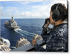 A Sailor Stands Forward Lookout Watch Acrylic Print by Stocktrek Images