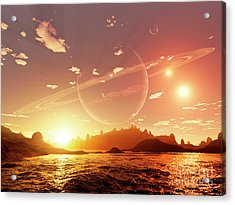 A Scene On A Distant Moon Orbiting Acrylic Print by Brian Christensen