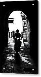 a scooter rider in the back light in a narrow street in Italy Acrylic Print by Joana Kruse