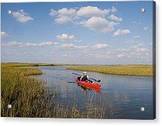 A Sea Kayaker And Fisherman Paddles Acrylic Print by Skip Brown