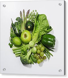 A Selection Of Green Fruits & Vegetables Acrylic Print by David Malan