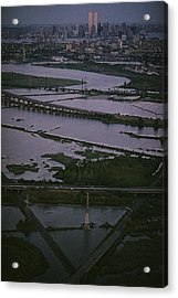 A Shot Of The Meadowlands And The New Acrylic Print by Melissa Farlow