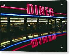 A Sign Relects Off A Car Roof Acrylic Print by Stephen St. John