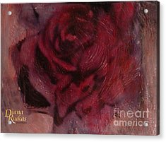 Acrylic Print featuring the mixed media A Single Rose by Diana Riukas