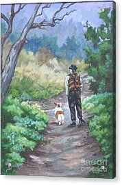A Slow Walk In The Woods Acrylic Print by Ann Becker