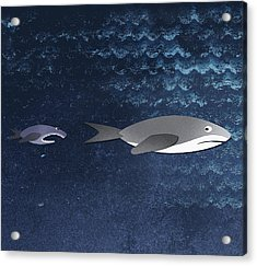 A Small Fish Chasing A Shark Acrylic Print by Jutta Kuss