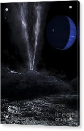 A Small Geyser On The Surface Acrylic Print by Fahad Sulehria
