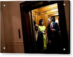 A Smiling President Obama Holds Acrylic Print