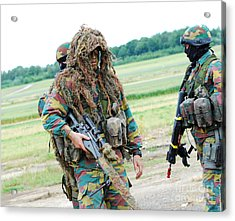 A Sniper Of The Belgian Army Together Acrylic Print by Luc De Jaeger