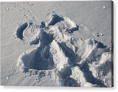 A Snow Angel Is Left From Pay Acrylic Print by Heather Perry