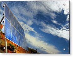A Solar Panel In The Desert Of South Acrylic Print by Brooke Whatnall
