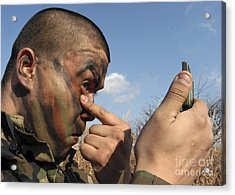 A Soldier Applying Face Paint Prior Acrylic Print by Stocktrek Images