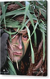 A Soldier Camouflaged In His Ghillie Acrylic Print by Stocktrek Images