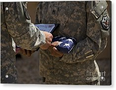 A Soldier Is Presented The American Acrylic Print by Stocktrek Images