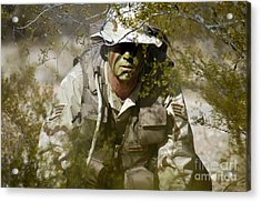 A Soldier Practices Evasion Maneuvers Acrylic Print by Stocktrek Images
