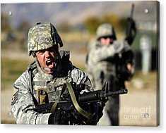 A Soldier Shows His Emotions Acrylic Print by Stocktrek Images