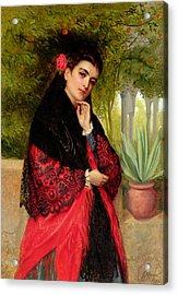 A Spanish Beauty Acrylic Print by John-Bagnold Burgess