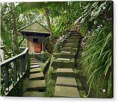 A Square Stone Pathway Leads To A Small Acrylic Print by Justin Guariglia