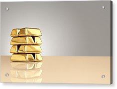 A Stack Of Gold Ingots Acrylic Print