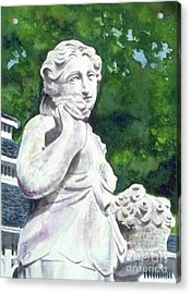 Acrylic Print featuring the painting A Statue At The Wellers Carriage House -1 by Yoshiko Mishina