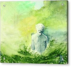 Acrylic Print featuring the painting A Statue At The Wellers Carriage House -5 by Yoshiko Mishina