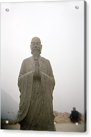 A Statue Of A Buddhist Monk In China Acrylic Print by Justin Guariglia