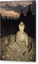 A Statue Of Buddha,  Borobudur, Java Acrylic Print by Paul Chesley