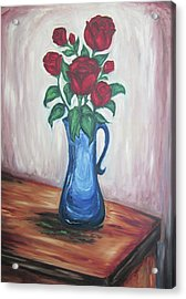A Still Life Of Red Roses Acrylic Print