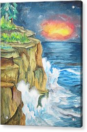 Acrylic Print featuring the painting A Storm Is Brewing On The Great Lakes - Wcs by Cheryl Pettigrew