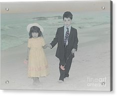 Acrylic Print featuring the photograph A Stroll On The Beach by Lori Mellen-Pagliaro