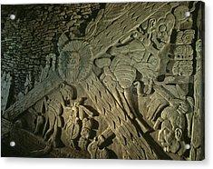A Stucco Mural Showing The Maya Turtle Acrylic Print by Kenneth Garrett