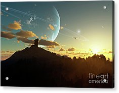 A Sunset On A Forested Moon Which Acrylic Print by Brian Christensen