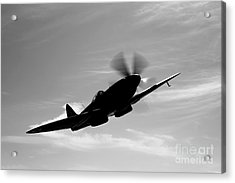 A Supermarine Spitfire Mk-18 In Flight Acrylic Print by Scott Germain