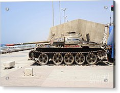 A T-55 Tank On The Seafront Acrylic Print by Andrew Chittock