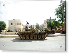 A T-72 Main Battle Tank On The Streets Acrylic Print by Andrew Chittock