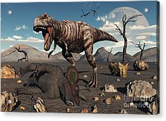 A T. Rex Is About To Make A Meal Acrylic Print by Mark Stevenson