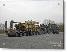 A Tank Transporter Hauling A Challenger Acrylic Print by Andrew Chittock