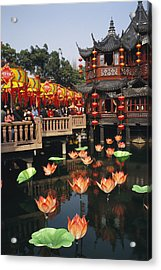 A Tea House In Shanghais Yuyuan Garden Acrylic Print by Justin Guariglia