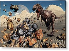A Team Of Time Travelling Explorers Try Acrylic Print by Mark Stevenson