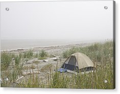 A Tent Sits In The Dunes By The Beach Acrylic Print by Taylor S. Kennedy