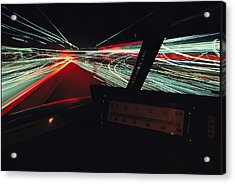 A Time Exposure Showing Streaks Acrylic Print by Paul Chesley