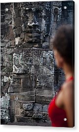 A Tourist Gazes At One Of The Enigmatic Acrylic Print by Alex Treadway