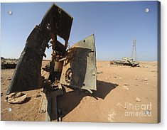 A Tracked Artillery Vehicle Destroyed Acrylic Print by Andrew Chittock