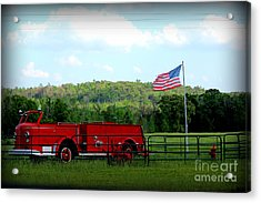 Acrylic Print featuring the photograph A Tribute To The Fireman by Kathy  White